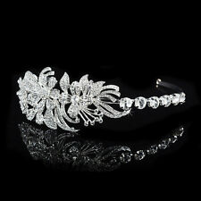 BRIDAL HAIR BAND, HEADBAND, TIARA, CLEAR RHINESTONE, VINTAGE, ART DECO, FLOWER