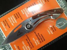 GERBER TRENDY FRAMELOCK KINIFE SILVER FINISH CHECKERED PEAR WOOD HANDLE SCALE