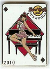 Hard Rock Cafe FOXWOODS 2010 Queen of Diamonds PIN Playing Card Sexy Girl PIANO