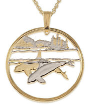 "Killer Whale Canada 50 Cents Cut Pendant Necklace Coin 1"" diameter ( # 676 )"