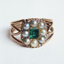 Antique Georgian 9ct Gold Foiled Emerald & Pearl Ring c1820; UK Size 'J 1/2'
