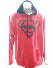 DC Comics Adult Superman Pullover Hoodie Extra Large Red With Black Shield New