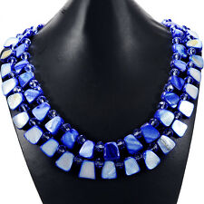Sky Blue Freshwater Shell & Crystal Statement Necklace Handmade Organic Jewelry