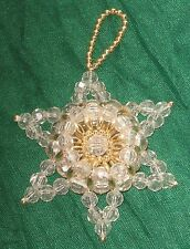 "Vintage 3D Clear Beaded Star Gold Accents 3"" Christmas Ornament #HY10"