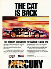 1989 Mercury cougar GTO Race Original Advertisement Print Art Car Ad J551