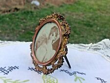"Antique Miniature Brass-Copper Round Floral Picture Frame-3"" tall"
