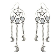 Lux Accessories Burnished Pentagram Celestial Dream catcher Dangle Earrings