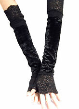 XX LONG BLACK CRUSHED VELOUR FINGERLESS GLOVES LACE CUFFS ARM WARMERS