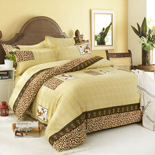 Royal Leopard Duvet Cover Quilt Cover Pillowcase Bed Set Queen Size L