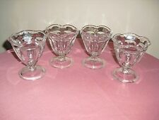 4 Ruffled Footed Ice Cream Sundae Dishes / Goblets - Anchor Hocking