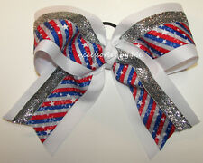 Patriotic Big Cheer Bow Red White Blue Stars Girls Cheerleader Hair Accessories