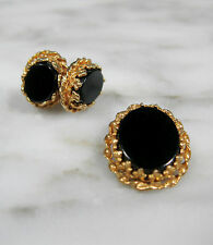 VICTORIAN DEMI PARURE 14K Y GOLD BLACK ONYX MOURNING JEWELRY EARRINGS & PENDANT