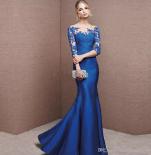 Sheer Back Appliques Mermaid Long Prom Dress Pageant Formal Satin Evening Gowns