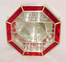 12X12 Stained Glass & Brass Octagon shaped CURIO CABINET DISPLAY CASE RED Trim