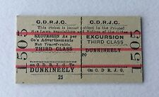 Vintage 1960s CDRJC Irish Railway Train Ticket Dunkeely - Edmondson