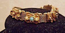 Vintage Signed Goldette Victorian Slide Bracelet Flowers Bee Charms