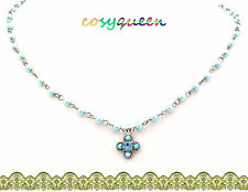 Swarovski Elements Crystal New Aquamarine Blue Clover Pearl Bead Necklace Gift