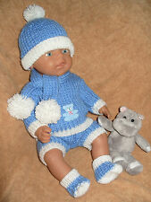 *03~Carol Ann Designs BabyBorn Size Boy Doll 5 Piece Scarf Set Knitting Pattern