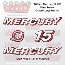 2006+ Mercury 15 HP CRV Curved Logo FourStroke Outboard Repro 5 Piece Decals 4S