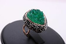 Exquisite! Turkish Jewelry Green Druzy 925 Sterling Silver Ring Size 5 6 7 8