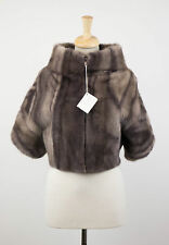 NWT BRUNELLO CUCINELLI Marble Brown Mink Fur Jacket Coat Cape Size 6/42 $18670