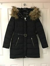 Brand New Warehouse Black Parker Style Coat With Faux Fur Hood Size 10 RRP £98