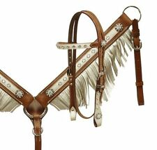 PONY Crystals Conchos White Fringe Leather Bridle Headstall Reins Breast Collar