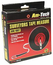 30M SURVEYOR BUILDERS FIBREGLASS MEASURE MEASURING TAPE ROLL REEL LONG