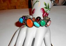 Vintage Navajo Indian Multi-Gemstones Sterling Silver Cuff Bracelet signed Nakai