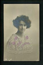 Embroidered clothing real photo postcard RPPC Woman printed Germany