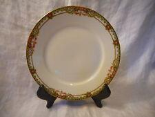 Vintage Salad Plate Union Ceramique, Limoges France, Pink Roses, Filigree, Gold