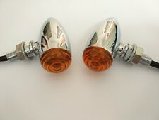 Mini Amber LED 3 Wires Turn Signal Blinker Light Chrome Bullet For Motorcycle