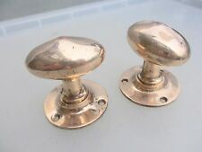 Victorian Bronze Door Knobs Handles Oval Architectural Antique Vintage Polished