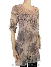 Tunique Voile Rose et gris Soie  T. UNIQUE = 38 40 42 Tunic silk seta NEUF 333a