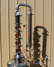 4 Bubble Plate Copper & Stainless Moonshine Still Column Vodka W/ Cooling Kit