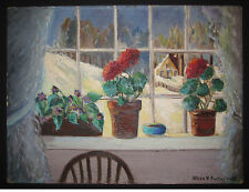 ANTIQUE 1953 AMERICAN FOLK ART OIL WINTER FLORAL SNOW PAINTING PA IMPRESSIONIST