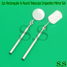 NEW 2pc Rectangular & Round Telescopic Inspection Mirror Stainless steel Handle