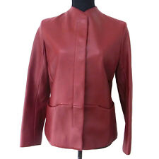 Authentic HERMES Long Sleeve Jacket Lamb Leather Brown #36 France Y01836