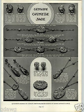 1939 PAPER AD Genuine Chinese Jade Jewelry Ring Braclet Brooch Earrings Necklace