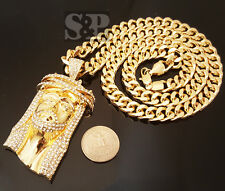 "HIP HOP GOLD ICED OUT JUMBO JESUS CZ PENDANT, 10mm 30"" CUBAN CHAIN NECKLACE 6003"