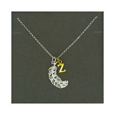 Lily Charmed NEW! Sterling Silver Large Feather & Gold Plated Initial Z Necklace
