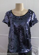NWT ANTHROPOLOGIE LEIFSDOTTIR NAVY MARIN BLUE SEQUIN SHORT SLEEVE BLOUSE SIZE S