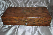 VINTAGE ANTIQUE WOOD SOLID OAK BRASS  BOX jewellery trinket stationary memory