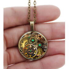 Women Lady Vintage Glass Pendant Chain Gear Cabochon Bronze Metal Necklace