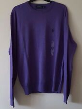 BNWT MENS POLO RALPH LAUREN V NECK MERINO WOOL JUMPER/SWEATER SIZE MED IN PURPLE