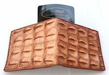 Genuine Real Bone Crocodile Alligator Skin Leather Man Bifold Golden Tan Wallet