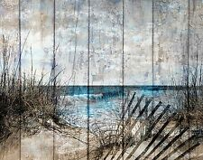Coastal Ocean Decor, Rustic Beach Bathroom Bedroom Wall Decor Matted Picture