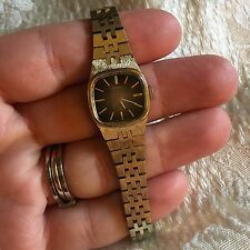 Seiko Woman's 11-3949 Gold Tone Steel Band Watch Bronze Dial, Working Condition