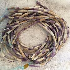 Authentic Wampum beads, tubes Approx 4mm X 8mm, Native made 10 Strand Bundle