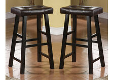 """Set of 2 Brown Faux Leather Seat Cushion Black Solid Wood 29""""H Saddle Bar Stools"""